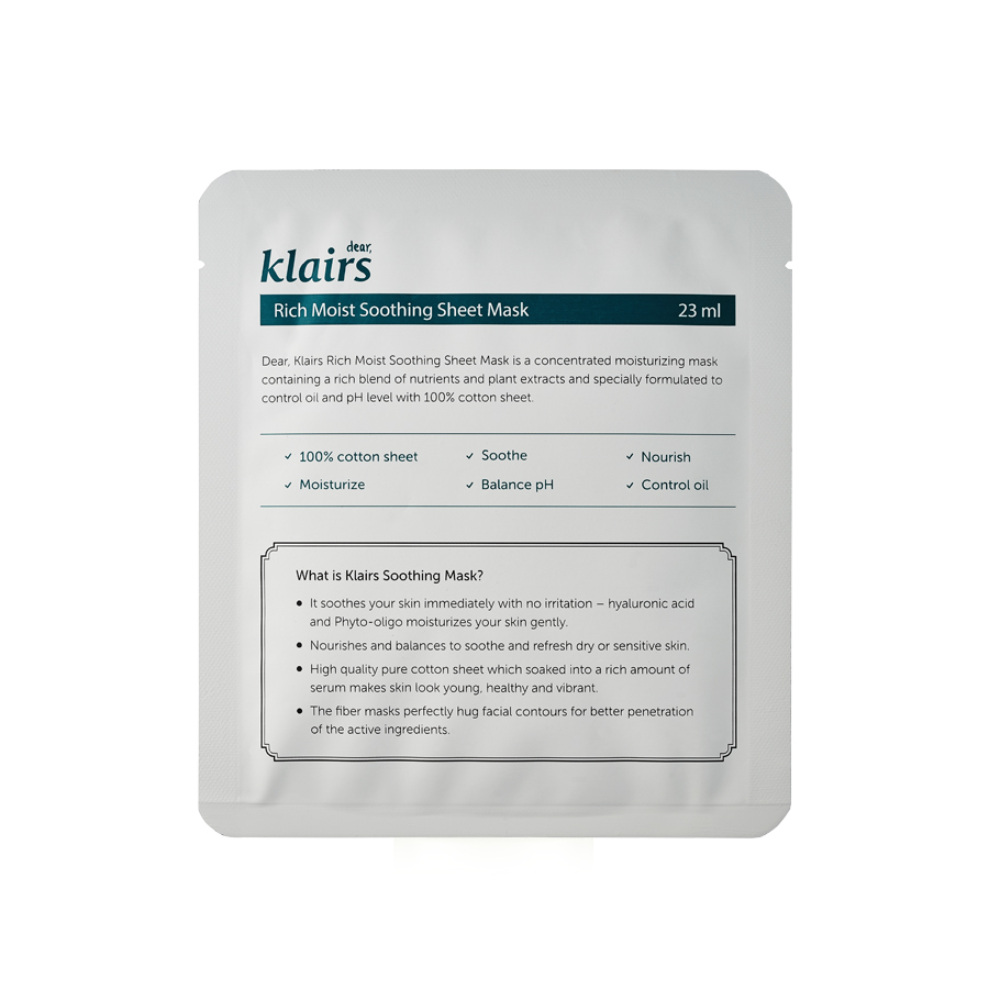 Klairs-Rich Moist Soothing Sheet Mask